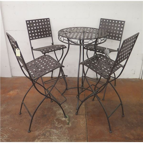 """Round  Metal Bar-Height Bistro Table 25""""D x 40""""H & 4 Folding Chairs 16""""x16""""x45""""H"""