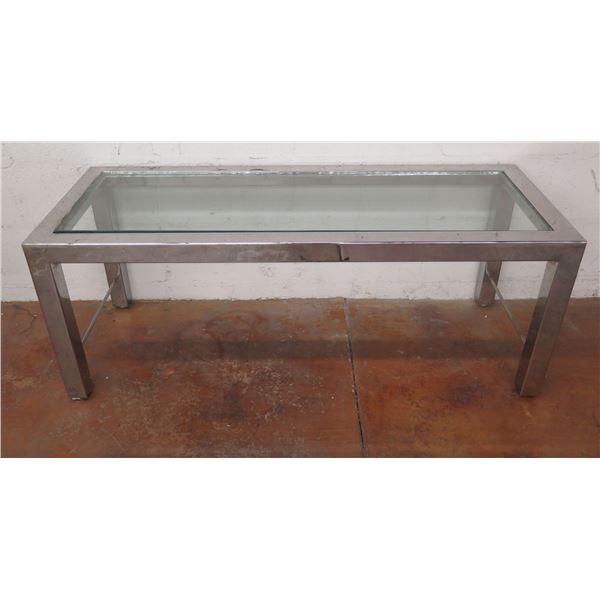 "Metal Coffee Table w/ Glass Top 48""x18""x18"""
