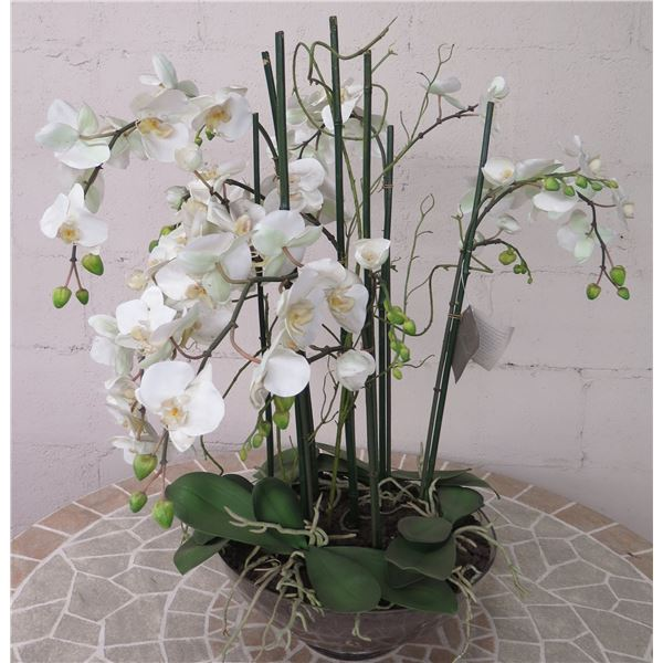 """Winward Home Artificial White Orchid Fabric Plant in Bowl Base 31""""H"""