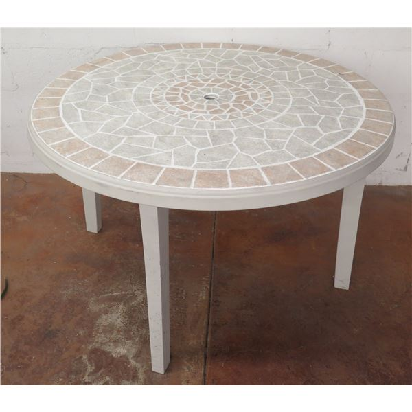 """Round Mosaic Style Plastic Folding Table 46""""D x 30""""H (Legs Are Removable)"""