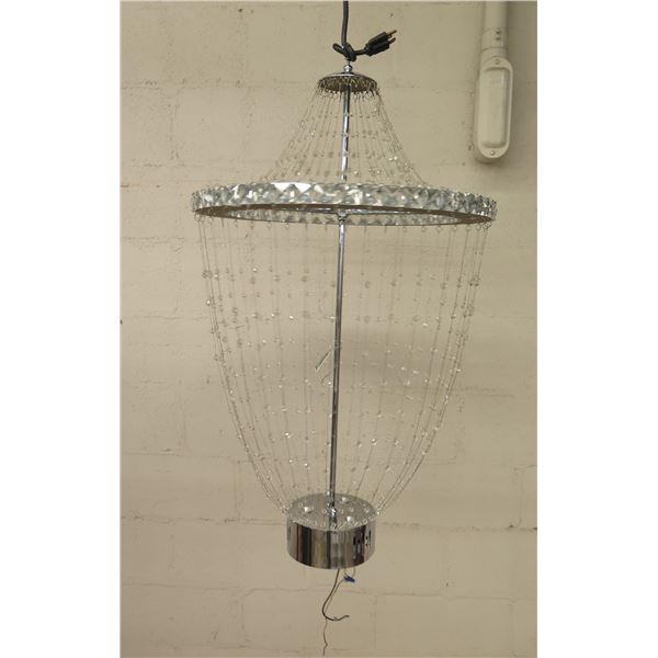 Hanging Silver Beaded Light Fixture