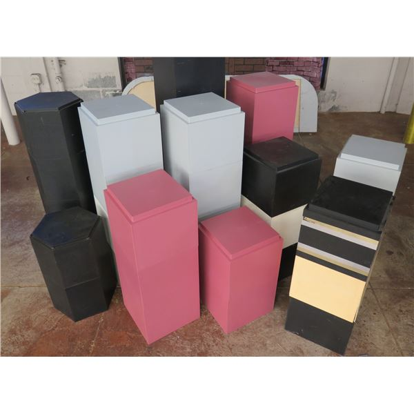 Multiple Colored Solid Stackable Display Stands Misc Sizes & Colors
