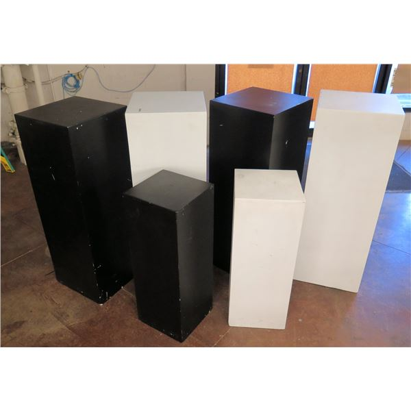 """Multiple Colored Solid Stackable Black & White Display Stands (Tag $498) 44""""H"""