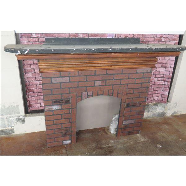 """Decorative Brick-Look Fireplace Prop w/ Mantle 84""""L x 12""""D x 52""""H"""