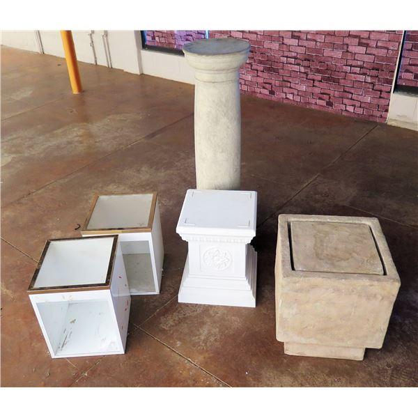 "Qty 4 Square Blocks: 2 White w/ Tan, Cement & Floral Design & Pedestal Stand 42""H"