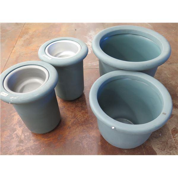 """Qty 4 Round Blue Planter Pots (Reg $375 Sale $219 each) 21-29""""D, 21-24""""H"""