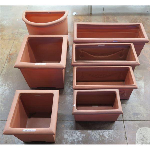 "Qty 7 Terra Cotta-Look Plastic Planters: 6 Rectangle 12-17"" x 18-38""H & Round Pot"