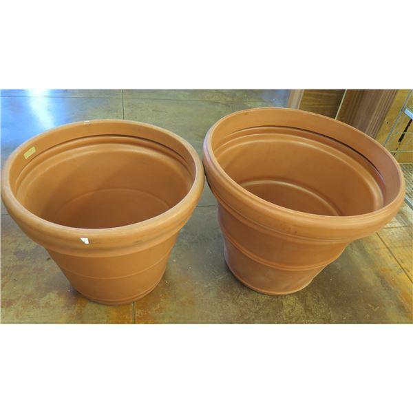 """Qty 2 Terra Cotta-Look Plastic Planter Pots 30-33""""D x 25-28""""H"""
