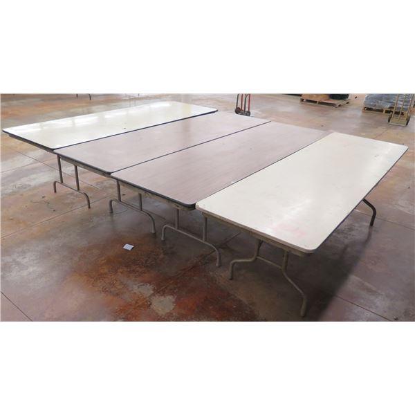 """Qty 4 Folding Tables w/ Metal Legs & Laminate Top 96""""x38""""x29"""""""