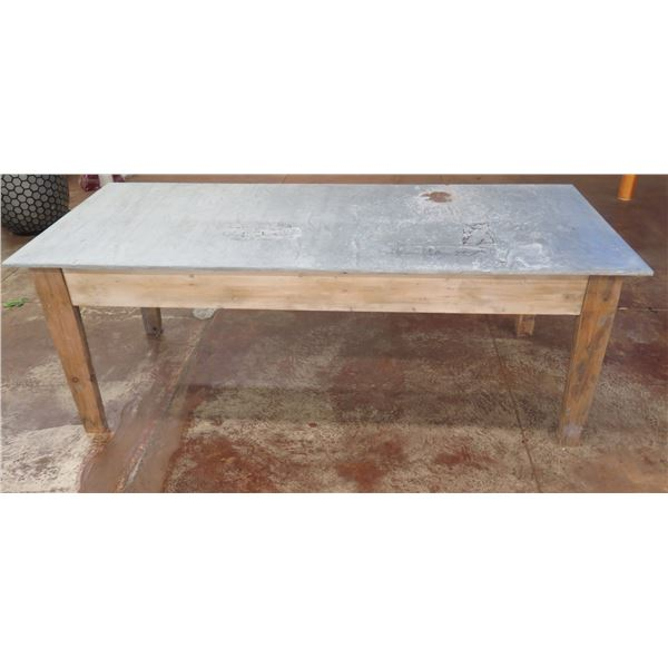"""Wooden Shop Table w/ Metal Top 87"""" x 36"""" x 32""""H"""