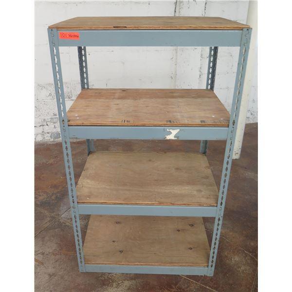 "Industrial Metal 4-Tier Shelving Unit w/ Plywood Shelving 35""x 25"" x 61""H"