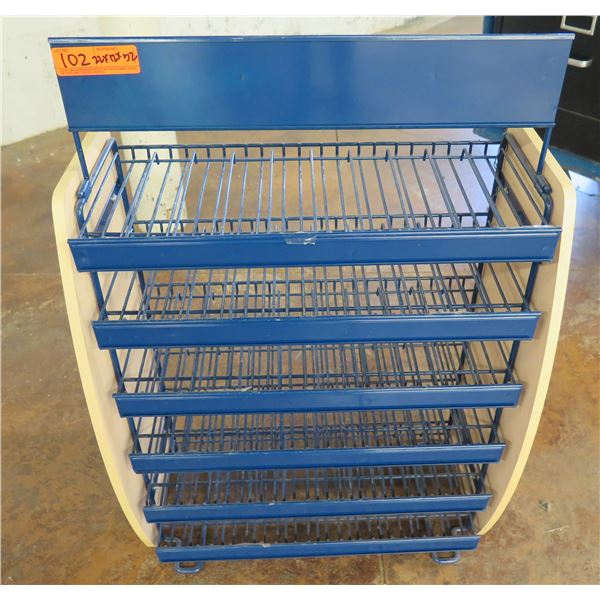 "Blue 6-Tier Metal Display Shelving Unit 22"" x 12"" x 32""H"