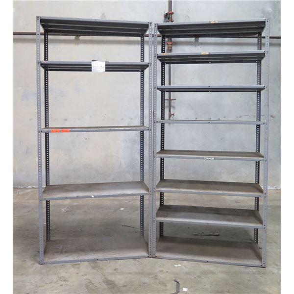 "Qty 2 Adjustable Multi-Tier Metal Shelving Units 47""x32""x101"""