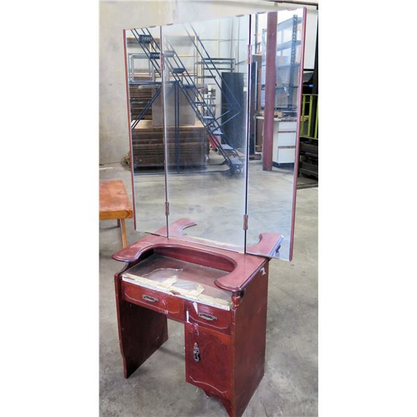 "Shirokiya Wood Vanity Table w/ 3 Drawers & Attached Tri-Fold Mirror 24""x14""x60"""