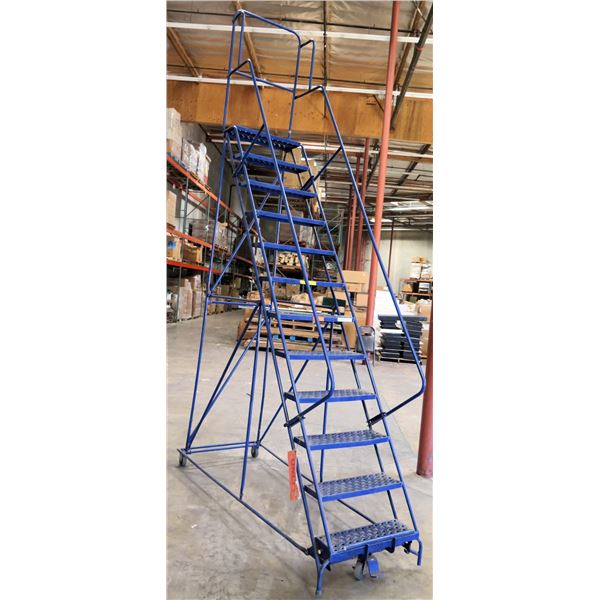 Rolling 12-Step Warehouse Safety Angle Stair Ladder w/ Handrails