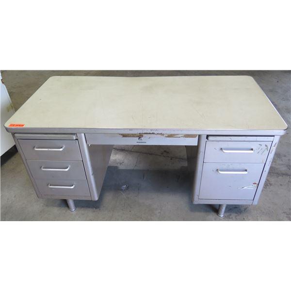 """Metal Shop Desk w/ 5 Drawers & Laminate Top 60""""x30""""x29"""""""