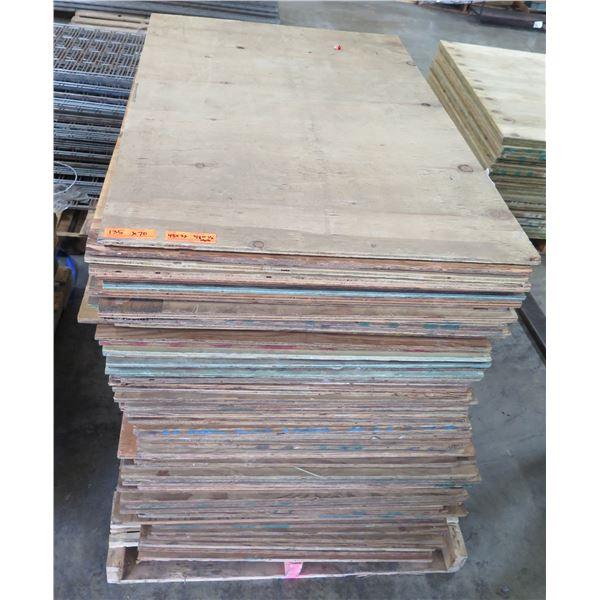 "Pallet 70 Plywood Sheets 48""L x 32"" W x Mix (3/8 & 1/2"")"