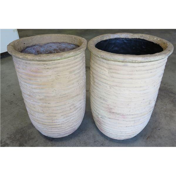 "Qty 2 Decorative Ribbed Planter Pots 12""Dia x 30"" Tall"