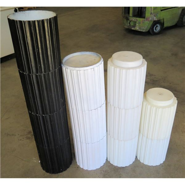 """Qty 4 Multi-Section Stacking White & Black Pots & Display 9.5""""D x 13""""H"""