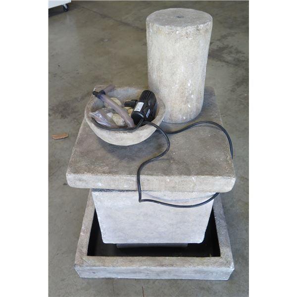 Hard Plastic (Cement-Look) Electric Fountain w/ Submersible Water Pump