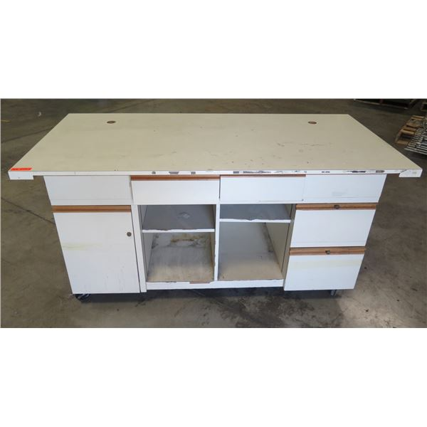 """Shop Table w/ White Top, 4 Undershelves & 7 Drawers 72""""x36""""x36"""""""
