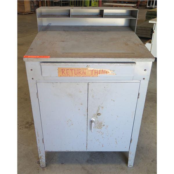 "Metal Shop Table w/ Top Shelf, Locking 2 Door Cabinet & Drawer 35""x30""x53"""