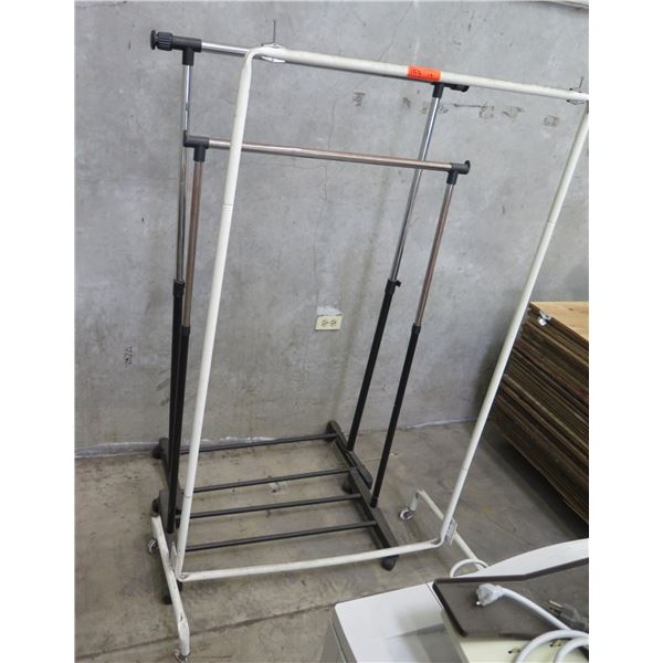 Qty 3 Rolling Pipe Clothing Wardrobe Racks