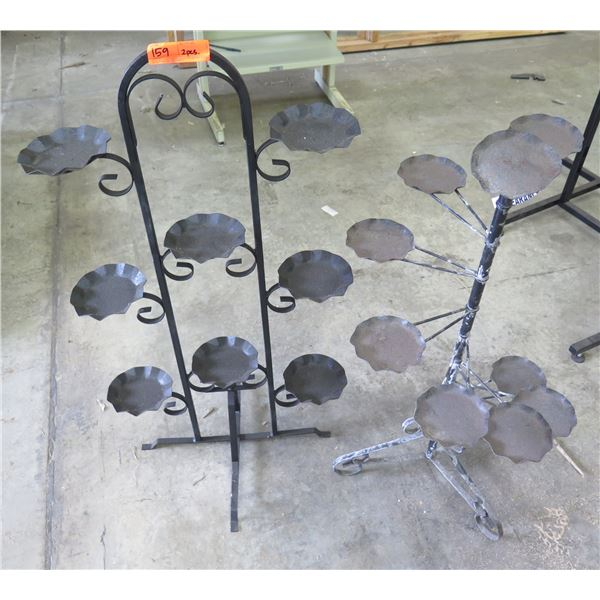 Qty 2 Wrought Iron Display Stands w/ 8 Small Candleholders