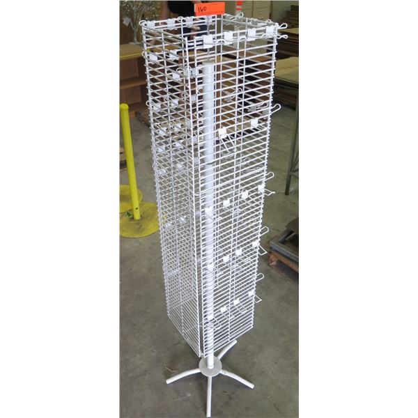 White Wire Rotating Display Rack w/ Pole Base