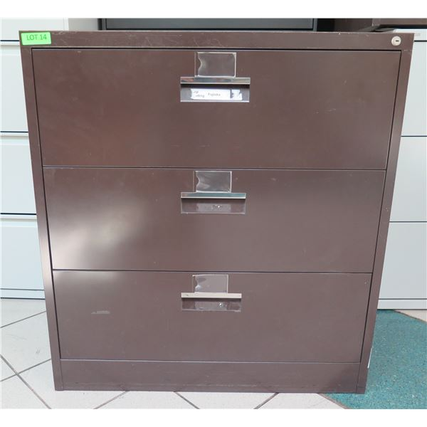 Brown Metal 3-Drawer Lateral Legal File Cabinet