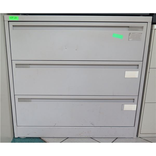 Beige Metal 3 Drawer Lateral Legal File Cabinet