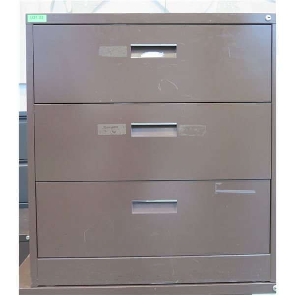 Brown Metal 3 Drawer Lateral Legal File Cabinet