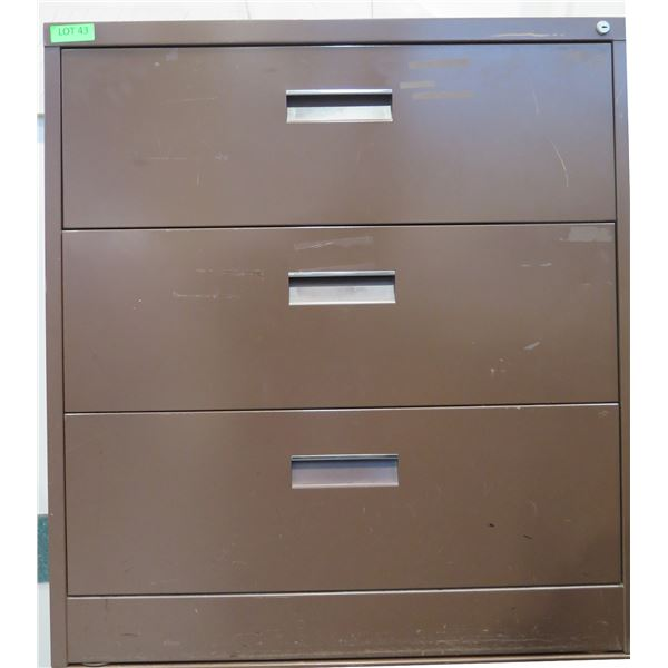 """Brown Metal 3-Drawer Lateral Legal File Cabinet 36""""x19""""x39"""""""