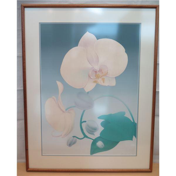 "Floral Art Print Signed by Artist Bushnell (?) Matted & Wood-Framed 30""x25"""