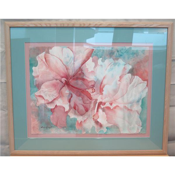 "Floral Art Print Signed by Artist Carli Oliver Matted & Wood-Framed 42""x35"""