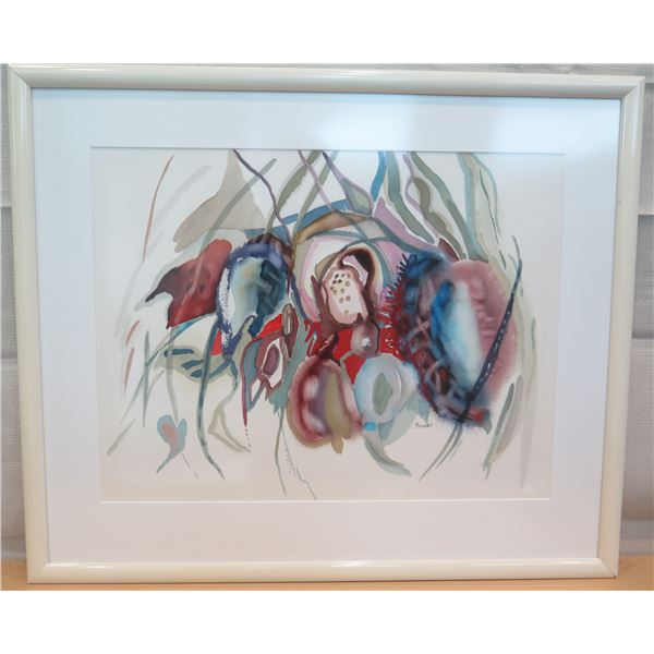 """Abstract Art Work Signed by Artist Hudson Matted & Framed 31""""x36"""""""