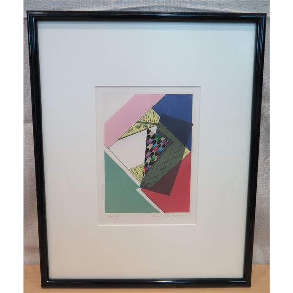 """Abstract Art Work Signed by Artist Helen Gilbert 14/20 Matted & Framed 16""""x19"""""""