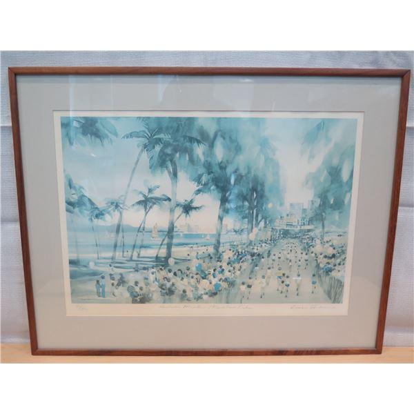 "Honolulu Marathon Art Work Signed by Artist Anderson 40/300 Framed 29""x23"""