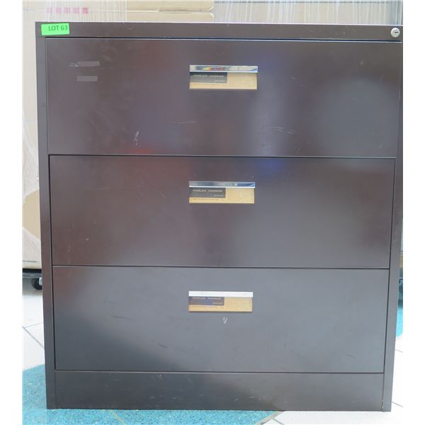 "Brown Metal 3 Drawer Lateral Legal File Cabinet 36""x19""x39"""