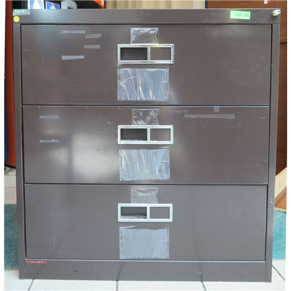 "Brown Metal 3 Drawer Lateral Legal File Cabinet 36""x19""x38"""