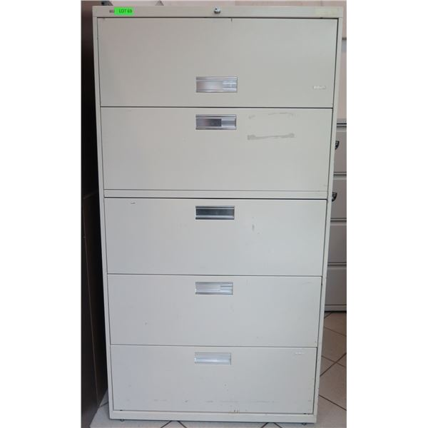 "Beige  Metal 5 Drawer Lateral Legal File Cabinet 36""x19""x67"""