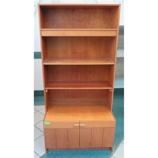 "Wooden Shelving Unit w/ 2-Door Cabinet 34""x19""x71"""
