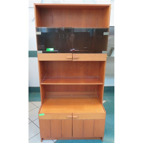 "Wooden Shelving Unit w/ 2-Door Cabinet & Tinted Glass Door 34""x19""x71"""