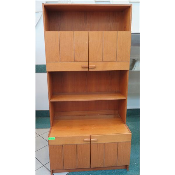"Wooden Shelving Unit w/ Cabinets 34""x19""x71"""