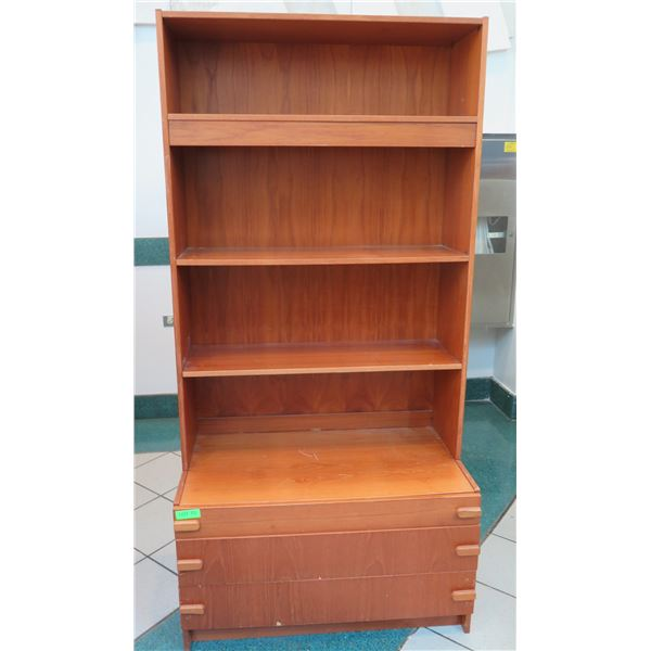 "Wooden Shelving Unit w/ 3-Drawers 34""x19""x71"""