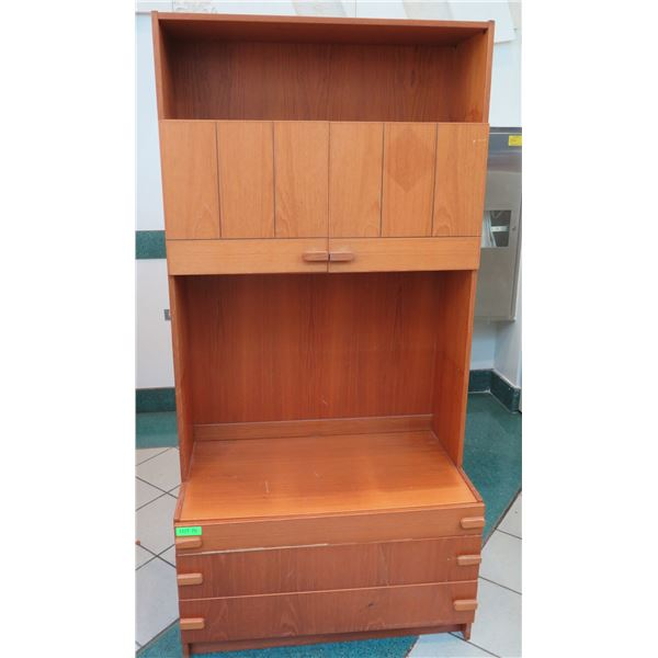 "Wooden Shelving Unit w/ Cabinet & Bottom Drawers 34""x19""x71"""