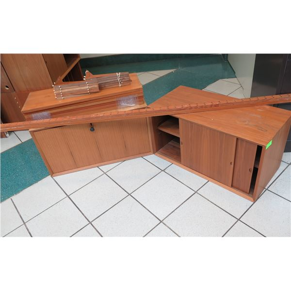Wooded Modular Shelf Unit Unassembled w/ 2 Door Cabinets