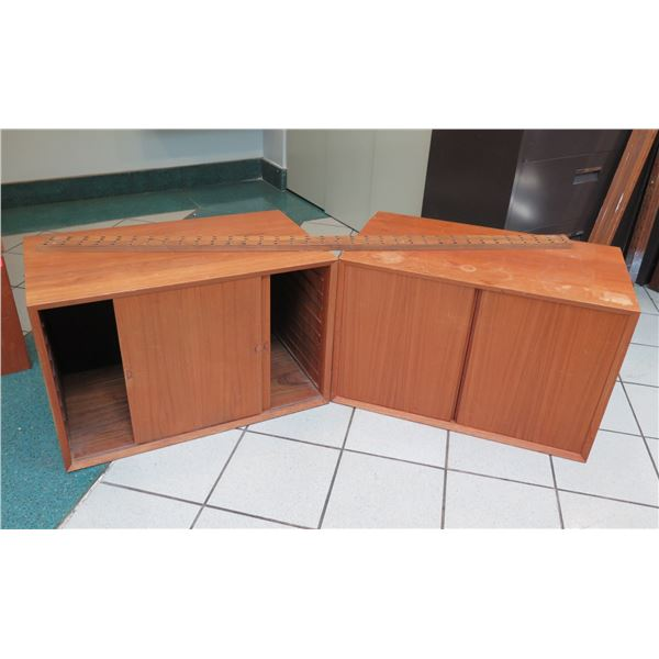 Wooden Modular Shelf Unit Unassembled w/ 2 Door Cabinets