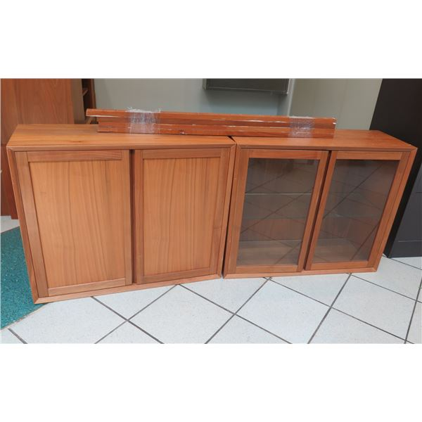 Wooden Modular Shelf Unit Unassembled w/ Glass Doors