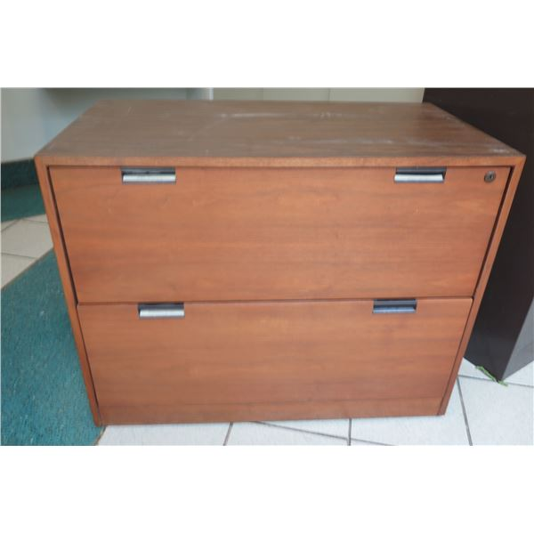 "Wooden 2 Drawer File Cabinet w/ Key 36""x20""x28"""